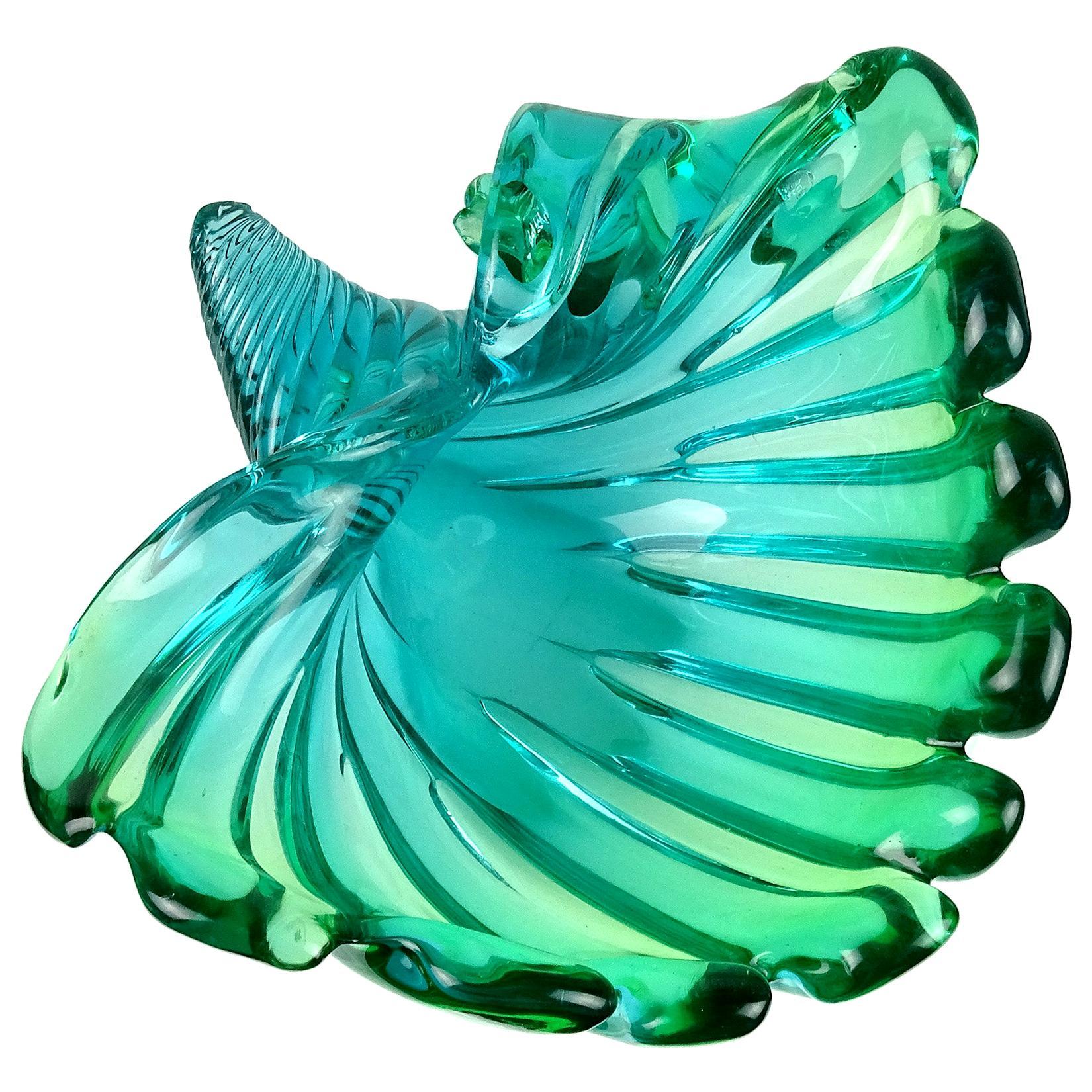 Murano Sommerso Blue Green Italian Art Glass Flared Seashell Sculpture Bowl