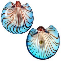 Murano Sommerso Blue Red Stripes 1956 Italian Art Glass Coastal Seashell Bowls