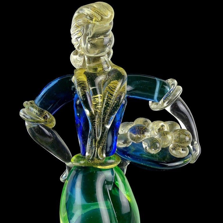 Hand-Crafted Murano Sommerso Blue Uranium Gold Flecks Italian Art Glass Woman Man Sculptures For Sale