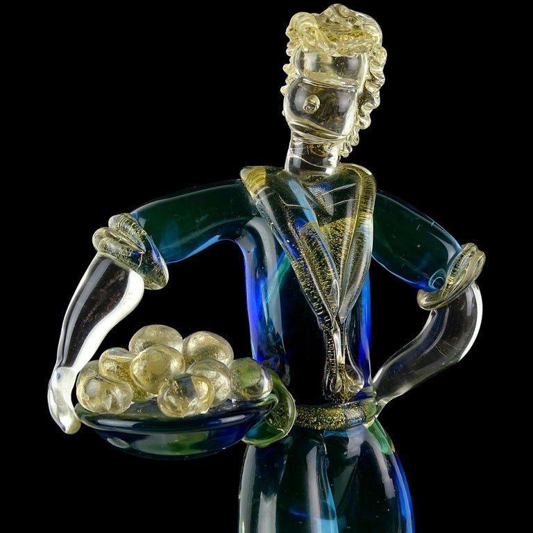 Murano Sommerso Blue Uranium Gold Flecks Italian Art Glass Woman Man Sculptures In Good Condition For Sale In Kissimmee, FL