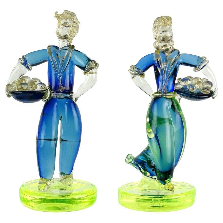 Murano Sommerso Blue Uranium Gold Flecks Italian Art Glass Woman Man Sculptures For Sale