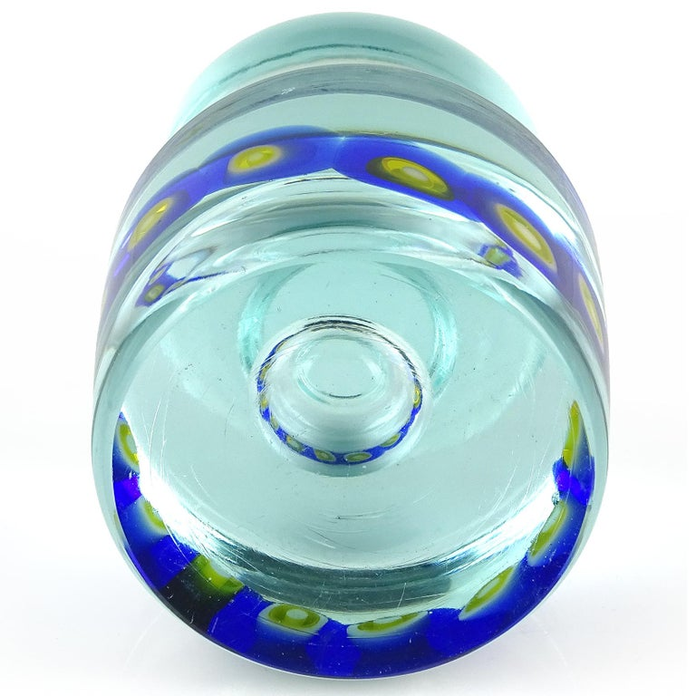 Hand-Crafted Murano Sommerso Blue Yellow Murrines Italian Art Glass Paperweight Sculpture For Sale