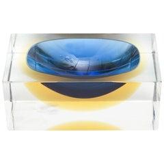 Murano Sommerso Flavio Poli Square Vide Poche Glass Bowl Vintage