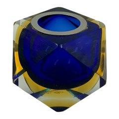 Murano Sommerso Geometric Blue Art Glass Cigarette or Cocktail Pick Holder