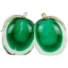 Murano Sommerso Green Gold Flecks Italian Art Glass Mango Fruit Bookends