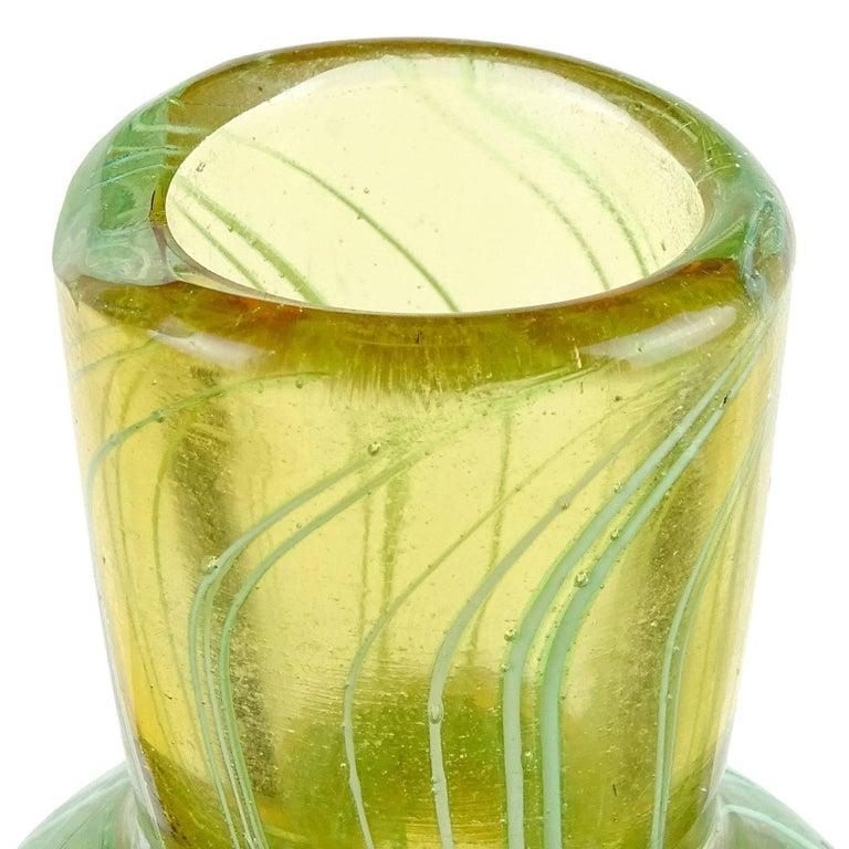 Murano Sommerso Green Ribbons Gold Stopper Italian Art Glass Perfume Bottle 1