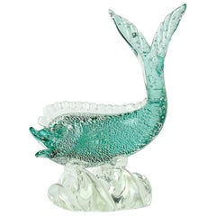 Murano Sommerso Green Silver Flecks Italian Art Glass Fish Sculpture on Wave
