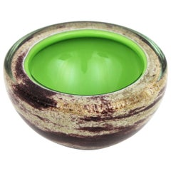Murano Sommerso Green White Brown Art Glass Large Geode Bowl