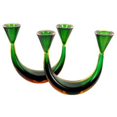 Murano Sommerso Green Yellow Orange Italian Vintage Art Glass Candlestick Set