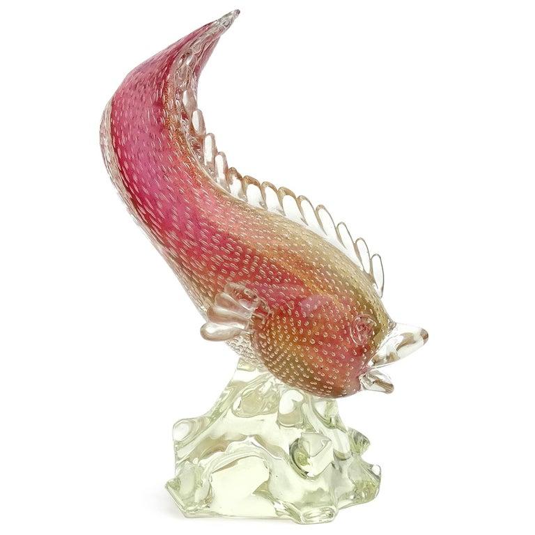 Art Deco Murano Sommerso Pink Gold Flecks Bollicine Italian Art Glass Fish Sculpture For Sale