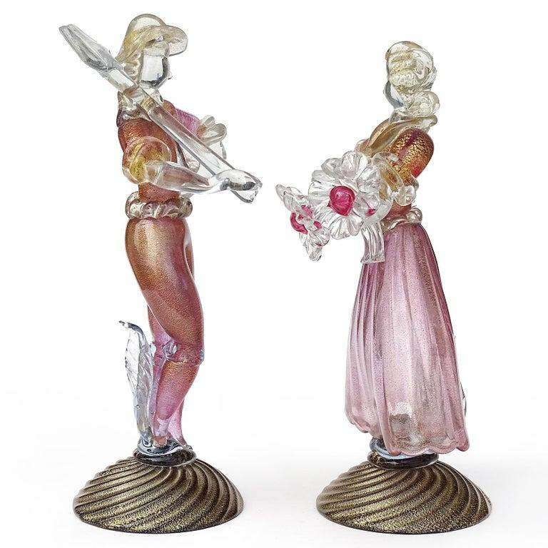 Mid-Century Modern Murano Sommerso Pink Gold Flecks Italian Art Glass Male Female Farmer Sculptures For Sale