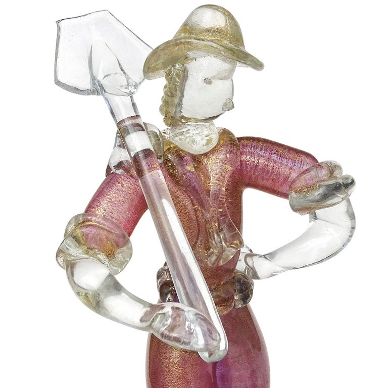 Hand-Crafted Murano Sommerso Pink Gold Flecks Italian Art Glass Male Female Farmer Sculptures For Sale