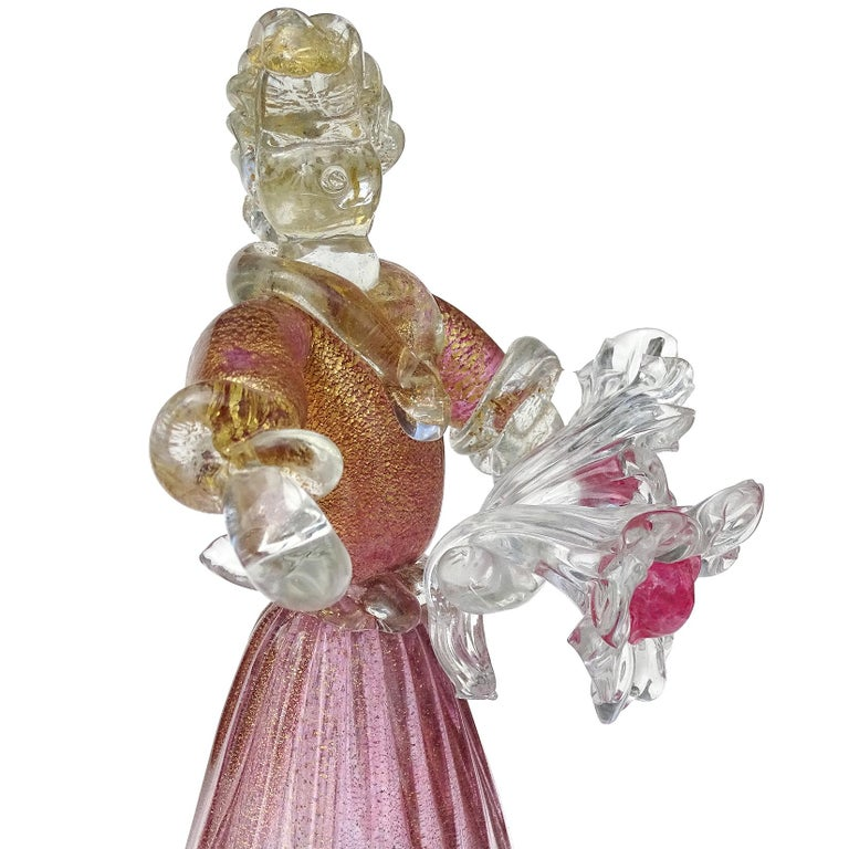 Murano Sommerso Pink Gold Flecks Italian Art Glass Male Female Farmer Sculptures In Good Condition For Sale In Kissimmee, FL