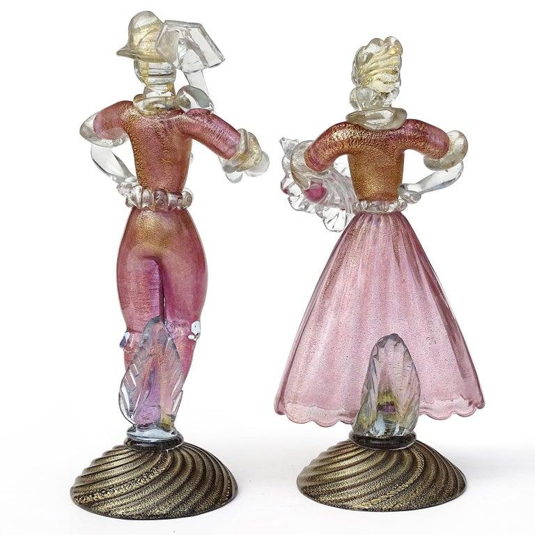 Murano Glass Murano Sommerso Pink Gold Flecks Italian Art Glass Male Female Farmer Sculptures For Sale