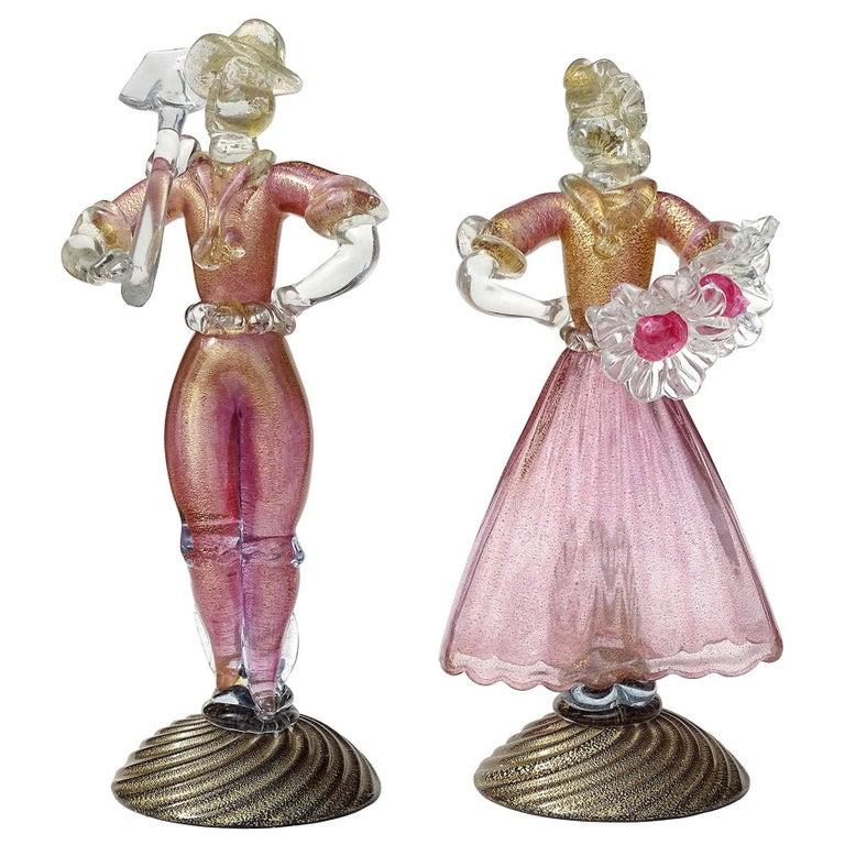 Murano Sommerso Pink Gold Flecks Italian Art Glass Male Female Farmer Sculptures For Sale