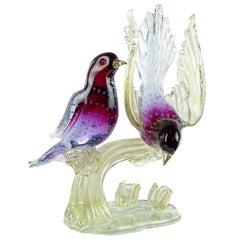 Murano Sommerso Purple Blue Gold Flecks Italian Art Glass Birds Sculpture