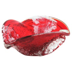 Murano Sommerso Red and Clear Macette Art Glass Bowl / Ashtray