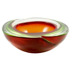 Murano Sommerso Red and Green Glass Ashtray or Bowl
