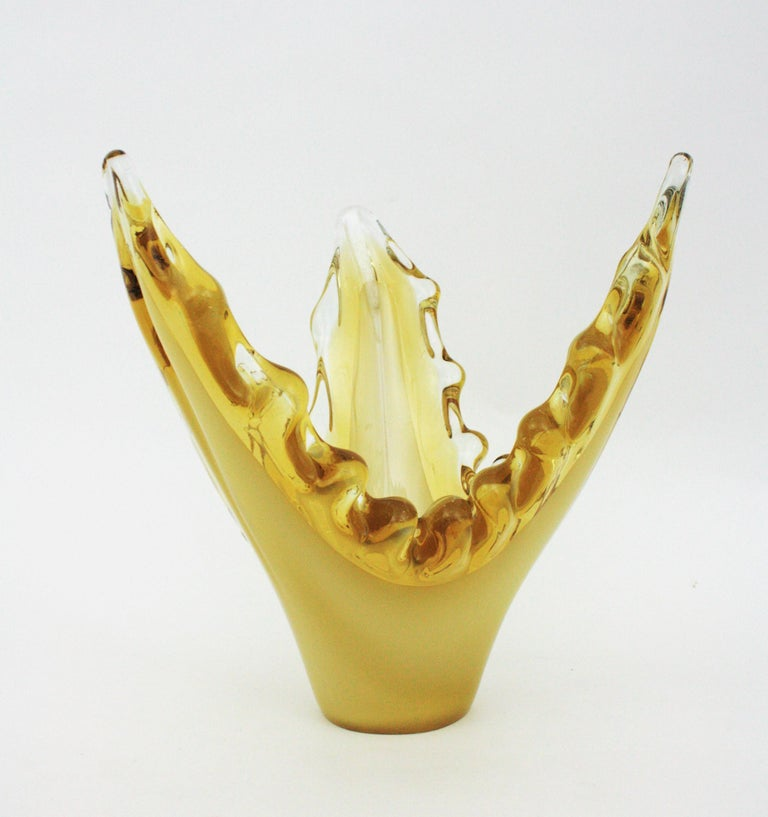Italian Murano Sommerso Scalloped Centerpiece Vase in Yellow, Amber and Clear Glass For Sale