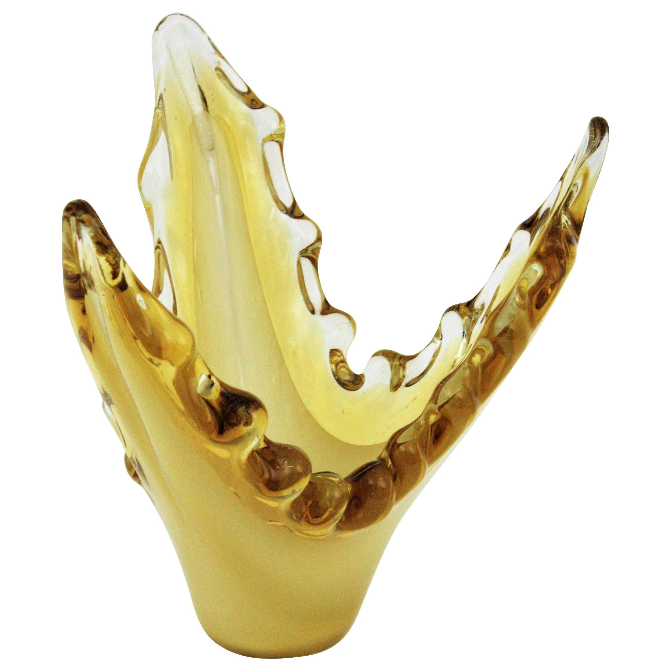 Murano Sommerso Scalloped Centerpiece Vase in Yellow, Amber and Clear Glass