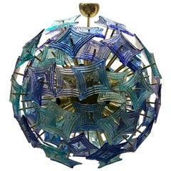 Murano Sputnik Art Glass Blue and Green Color Midcentury Chandelier, 1990