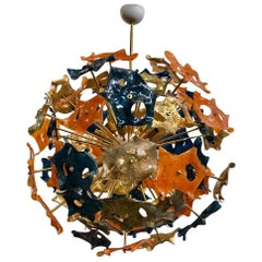 Murano Sputnik Art Glass Blue Orange and Gold Color Midcentury Chandelier, 1990
