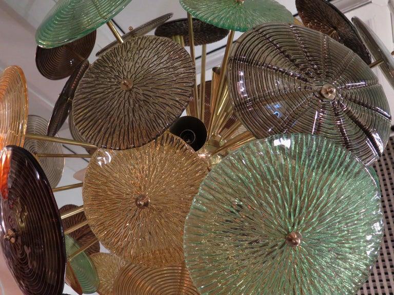 Brass Murano Sputnik Art Glass Midcentury Chandelier, 1960 For Sale