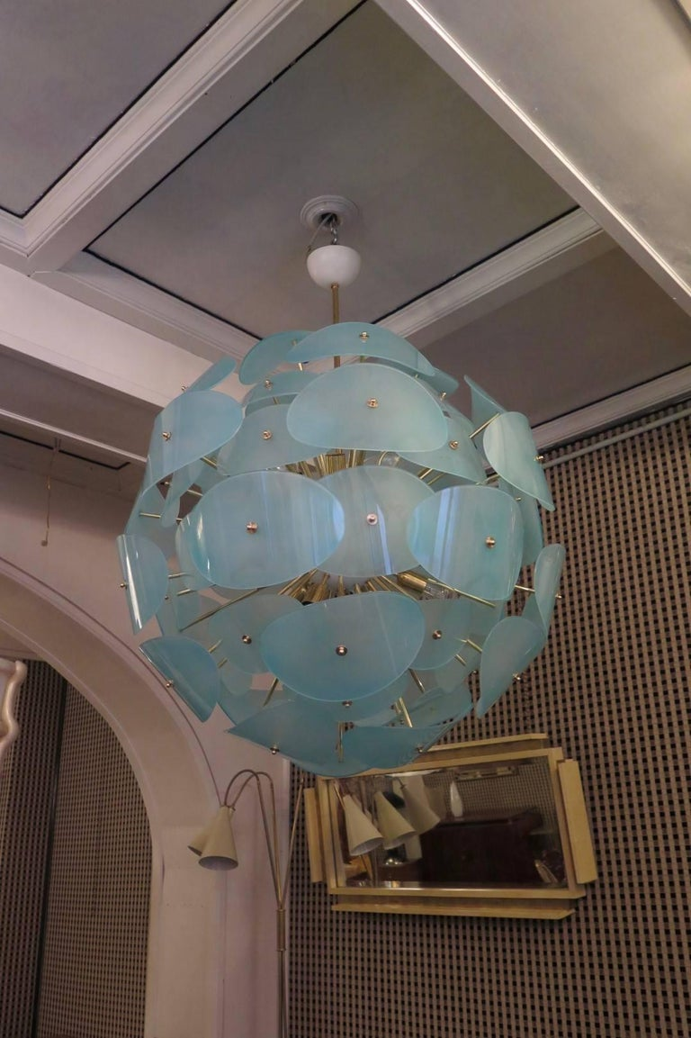 Murano Stilnovo Green Water Italian Midcentury Chandeliers, 1970 In Excellent Condition For Sale In Rome, IT