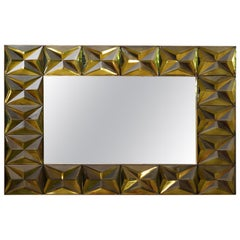 Murano Strong Olive Green Glass and Brass Wall Mirror, 2020