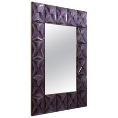 Murano Strong Violet Glass and Brass Wall Mirror, 2020