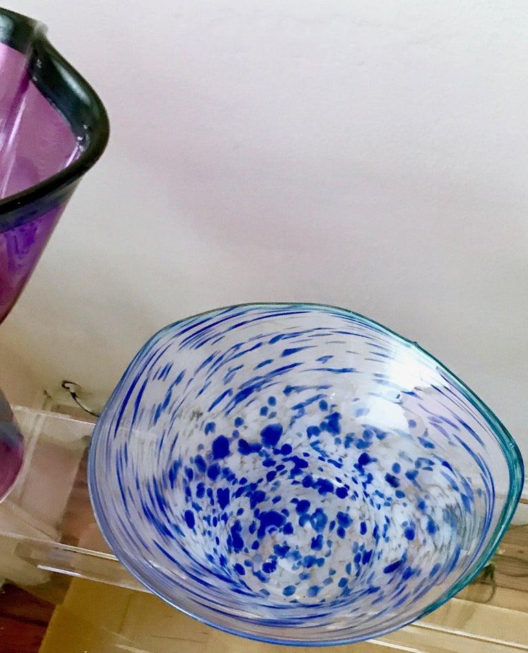 American Murano Studio Art Glass Vase Pair, Chihuly-Style, Mid-Century Modern, Venetian For Sale