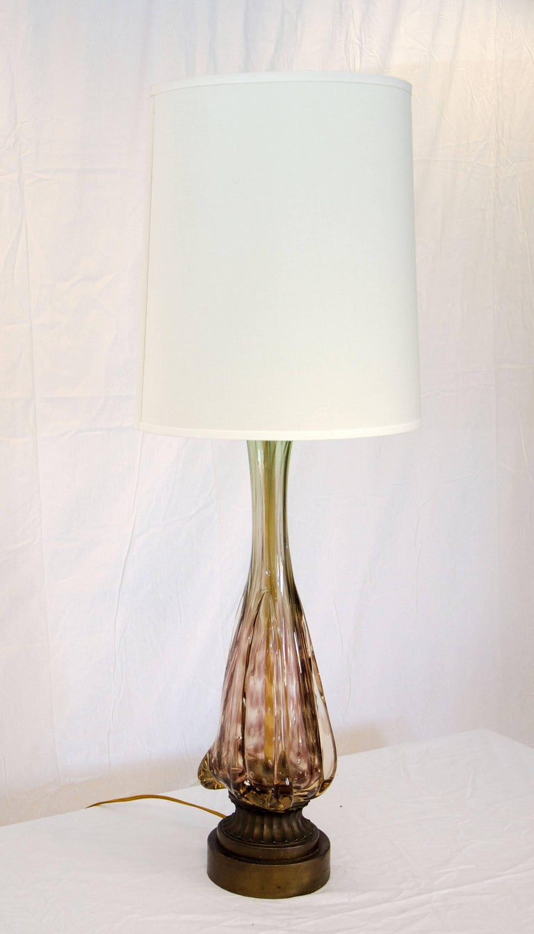 Murano Style Glass Tall Table Lamp For Sale At 1stdibs