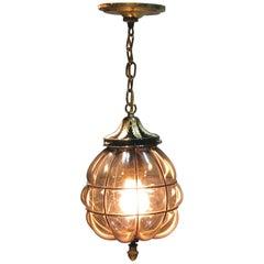 Murano Style Hand Blown Caged Smoked Glass Hanging Hall Lantern Mid-20th Century