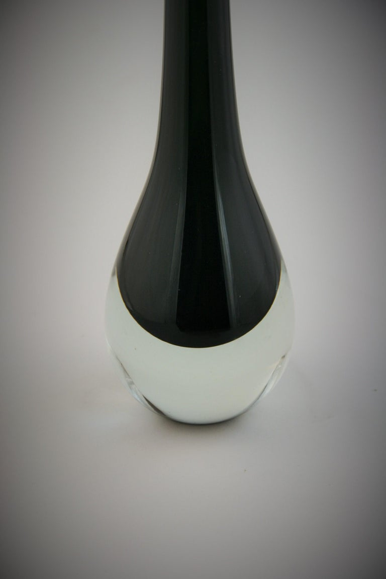 European Murano Summerso Black and Clear Glass Bud Vase For Sale