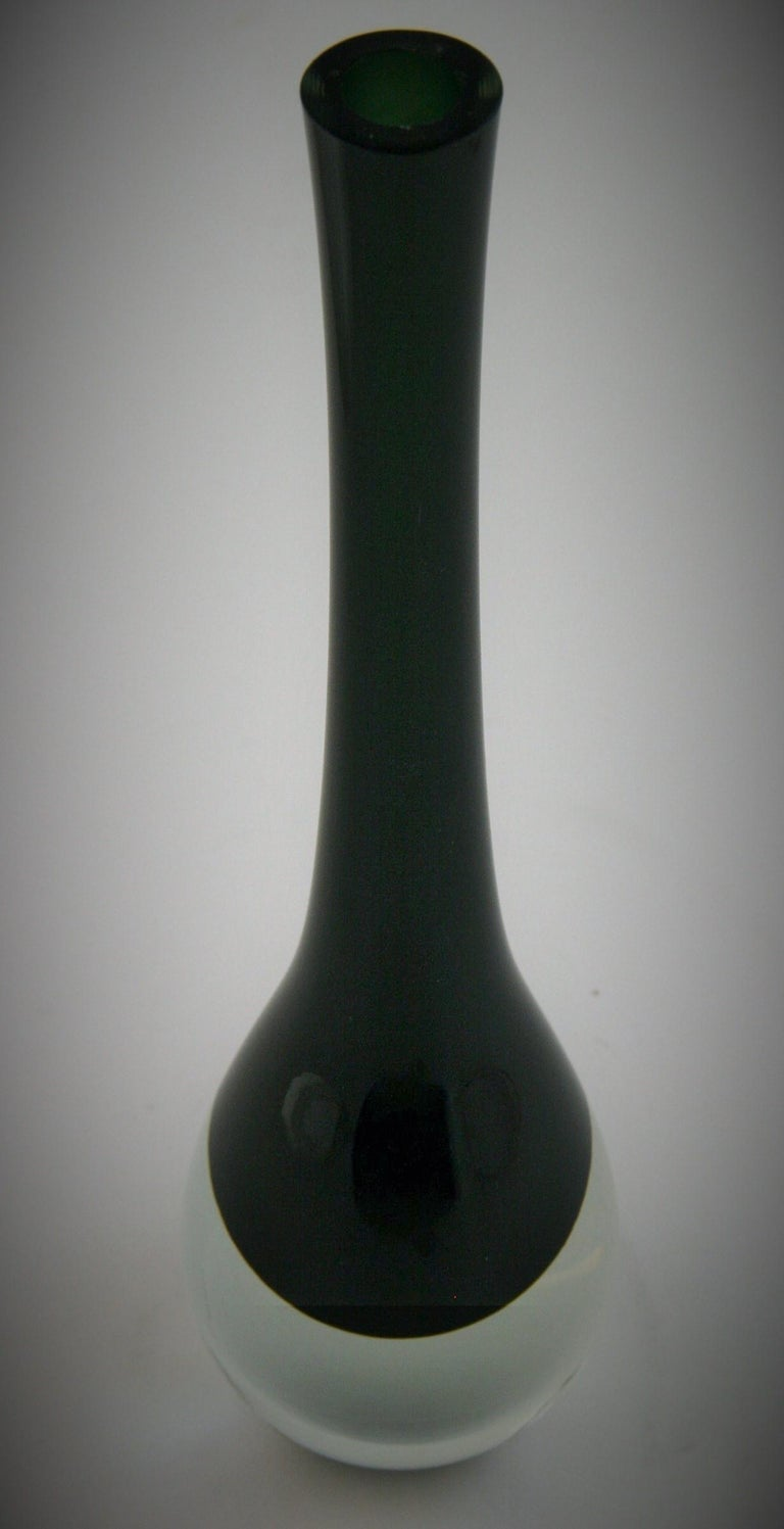 Art Glass Murano Summerso Black and Clear Glass Bud Vase For Sale