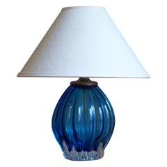 Murano, Table Lamp, Fluted Blown Glass, Metal, Italy, 1940s