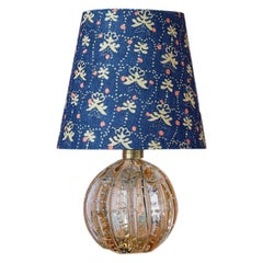 Murano Table Lamp in Pale Amber Glass with Patterned Lampshade, Italy, 1950s