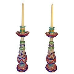 Murano Tall Pair of Masterwork Hand Blown Glass Candleholders, 1950