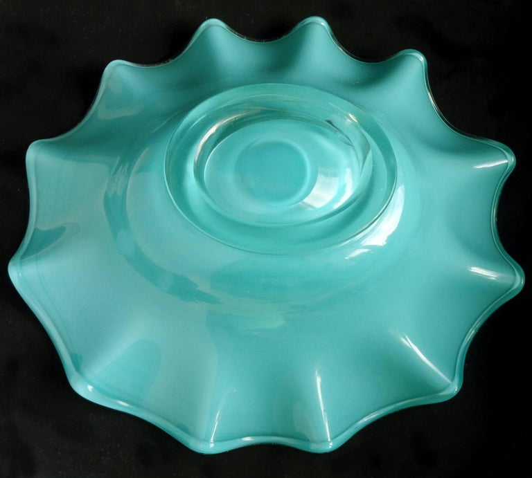 Murano Teal Green and Gold Flecks Italian Art Glass Footed Centerpiece Bowl In Good Condition For Sale In Kissimmee, FL