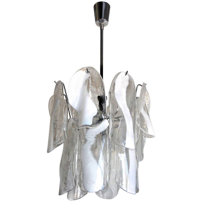 Murano Textured White Clear Glass Panel Chandelier by Mazzega For Sale