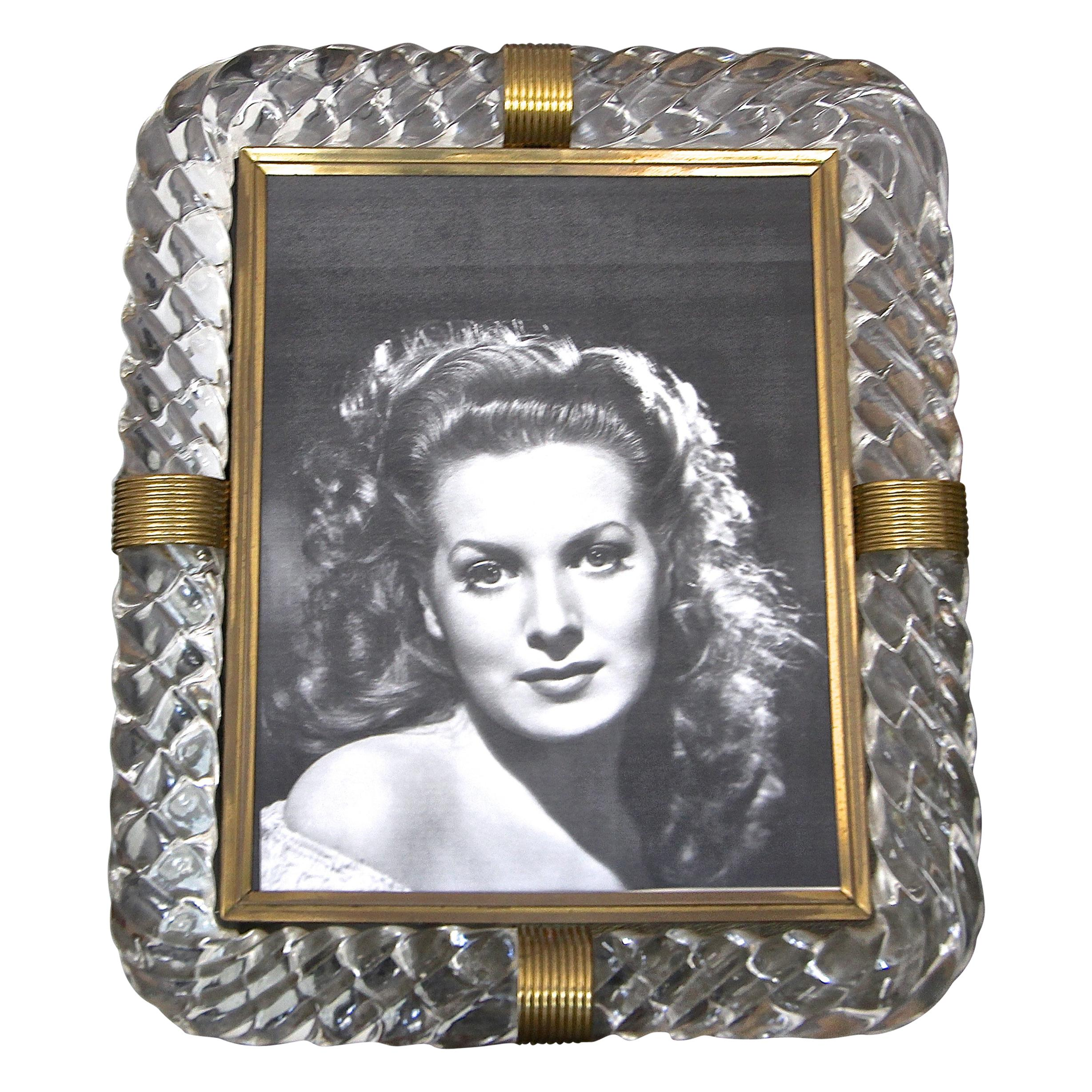 Murano Thick Twisted Glass Rope Brass Picture Frame