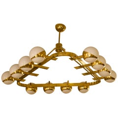 Murano Triangular Brass and Glass Midcentury Chandelier, 1970