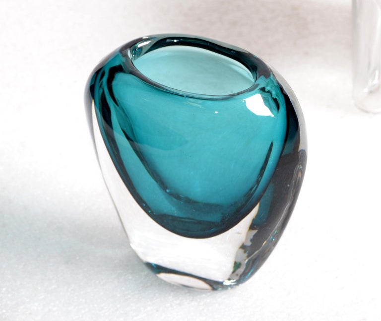 Murano Turquoise Blue & Clear Blown Art Glass Vase Mid-Century Modern Italy 5