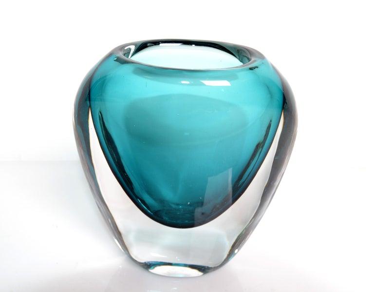 Italian Murano Turquoise Blue & Clear Blown Art Glass Vase Mid-Century Modern Italy
