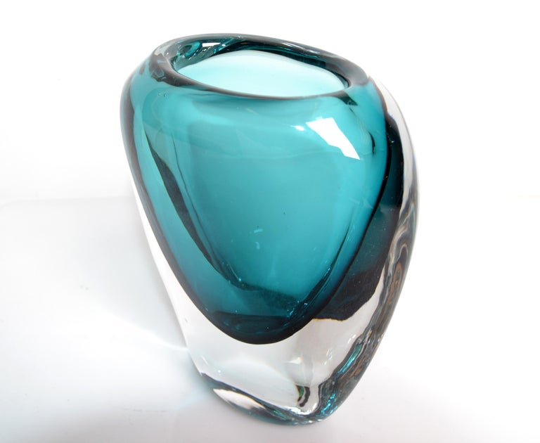 Hand-Crafted Murano Turquoise Blue & Clear Blown Art Glass Vase Mid-Century Modern Italy