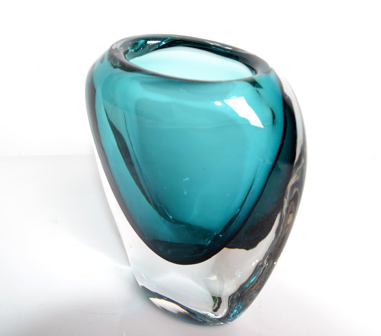 Blown Glass Murano Turquoise Blue & Clear Blown Art Glass Vase Mid-Century Modern Italy