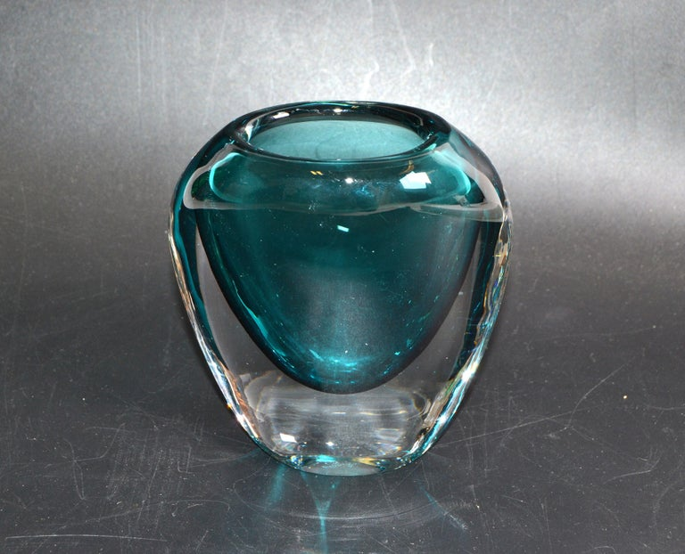 Murano Turquoise Blue & Clear Blown Art Glass Vase Mid-Century Modern Italy 1