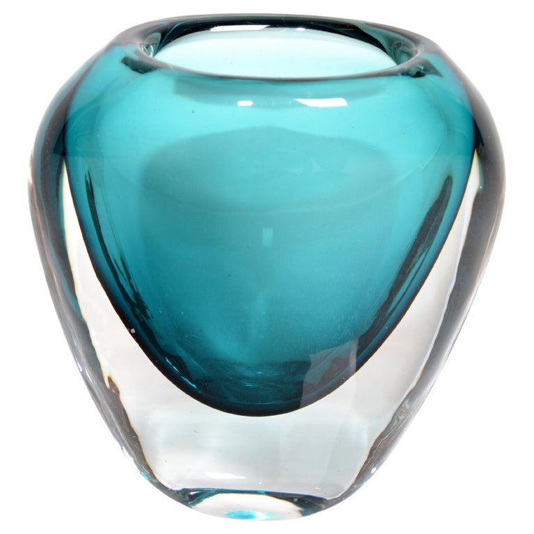 Murano Turquoise Blue & Clear Blown Art Glass Vase Mid-Century Modern Italy