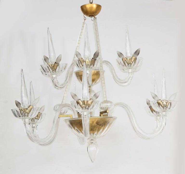 Murano twelve arm chandelier in the style of