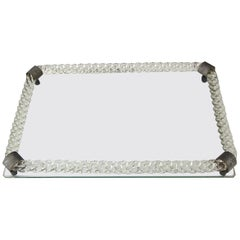 Murano Twisted Rope Clear Glass Vanity Tray